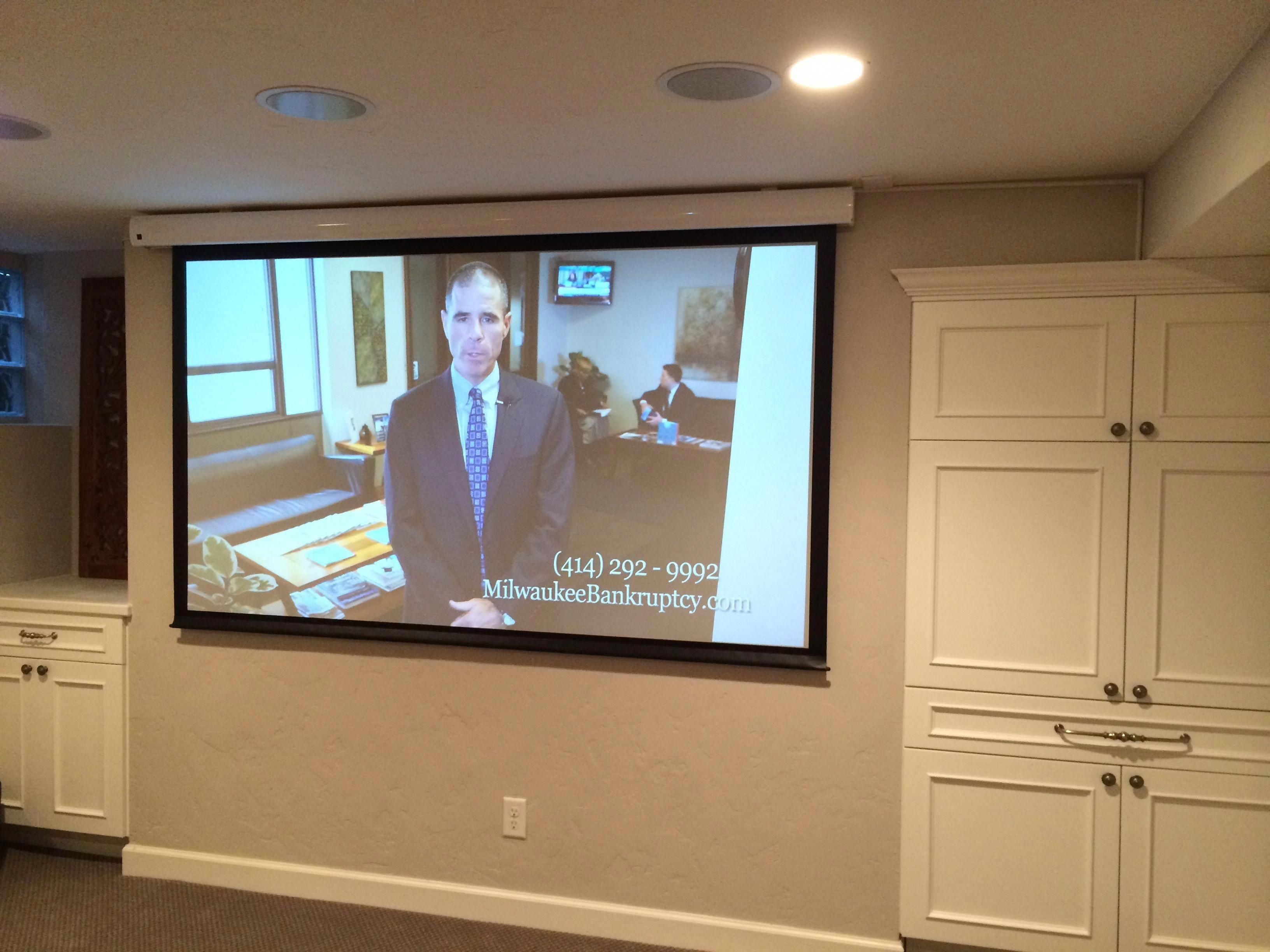 Premium Home Theater Installation With Hd Video Projector Retractable Screen And 5 1 Surround