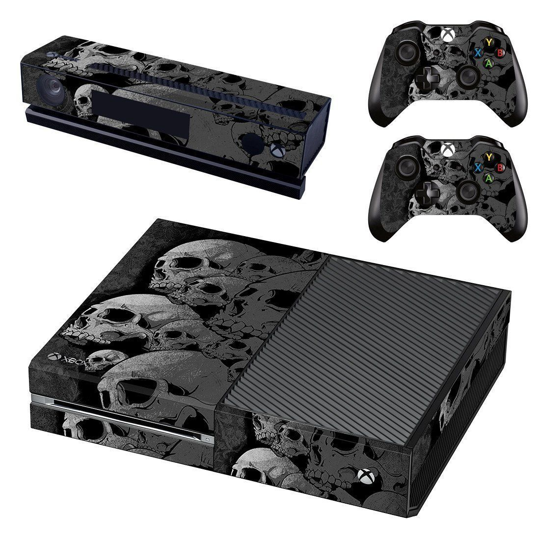 2 Controller /& Kinect Skin Set Xbox One Console Skin Decal Sticker Skull Metal Design