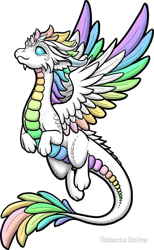 Rainbow Angel Dragon Sticker By Rebecca Golins With Images Easy Dragon Drawings Cute Dragon Drawing Dragon Artwork