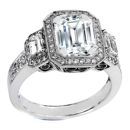 Vintage Three Stone Emerald Cut Diamond Engagement Ring