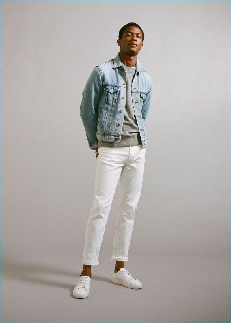 Dare To Denim Hamid Onifade Models Mango Essentials White Jeans Men Jeans Outfit Men Denim Outfit Men [ 1120 x 800 Pixel ]