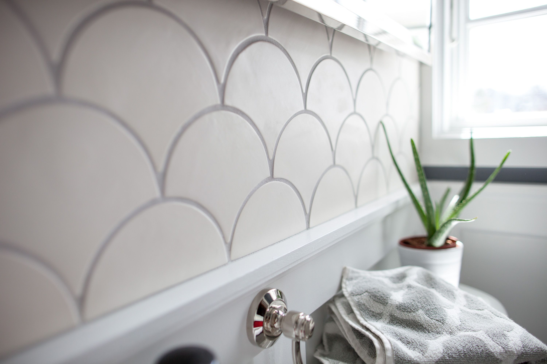 White Modern Morocco Bathroom   Fish scale tile, Moroccan and Dream ...