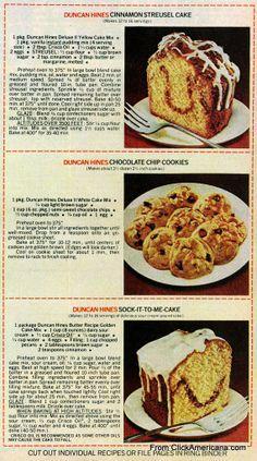 6 dessert recipes made with Duncan Hines cake mix (1978) – Click Americana