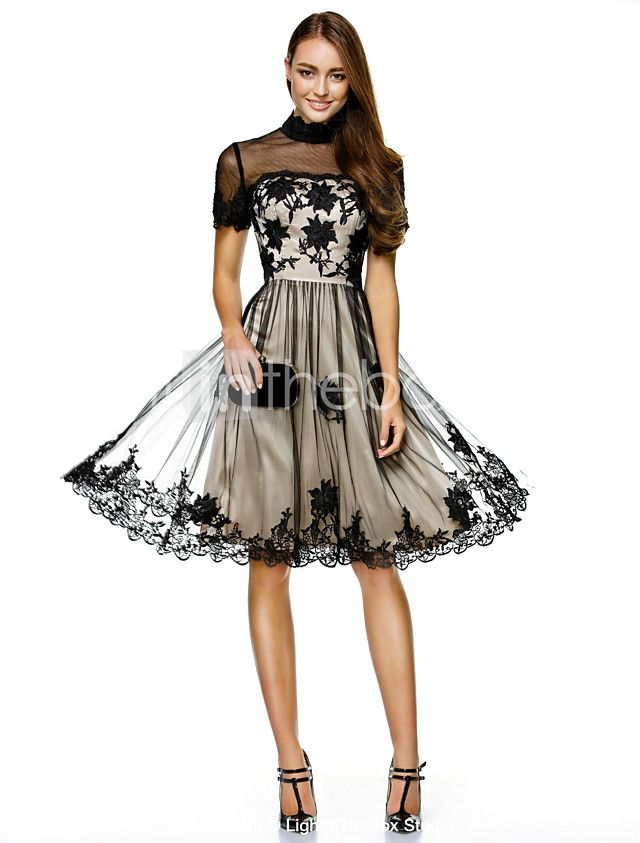 A-Line Princess High Neck Knee Length Lace Over Tulle Cocktail Party ...