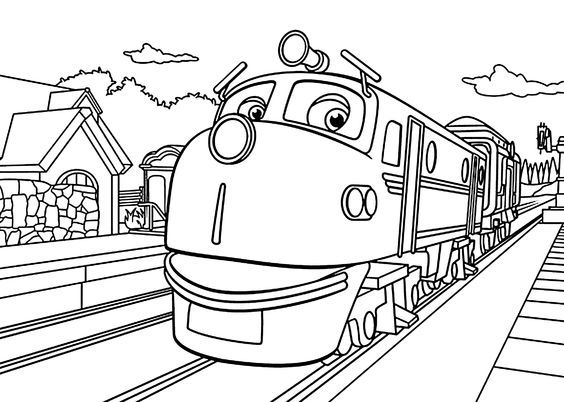 Chuggington Coloring Pages Wilson In Depot For Kids Printable