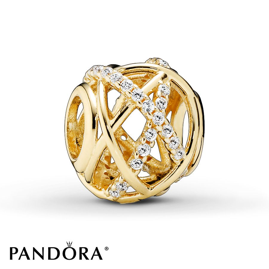 Pandora Charm Clear CZ Galaxy 14K Yellow Gold Pandora Cravings