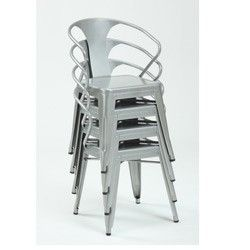 Silver Tabouret Stacking Chairs (Set Of 4)   Overstock.com An Imitation  Tolix
