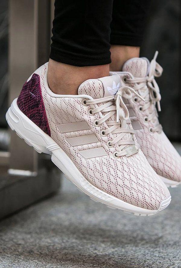 Women Adidas Originals Zx Flux White White Pink Adidas Shoes
