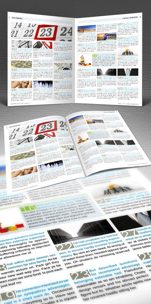 Calendar insert for your publication Work Happy Pinterest