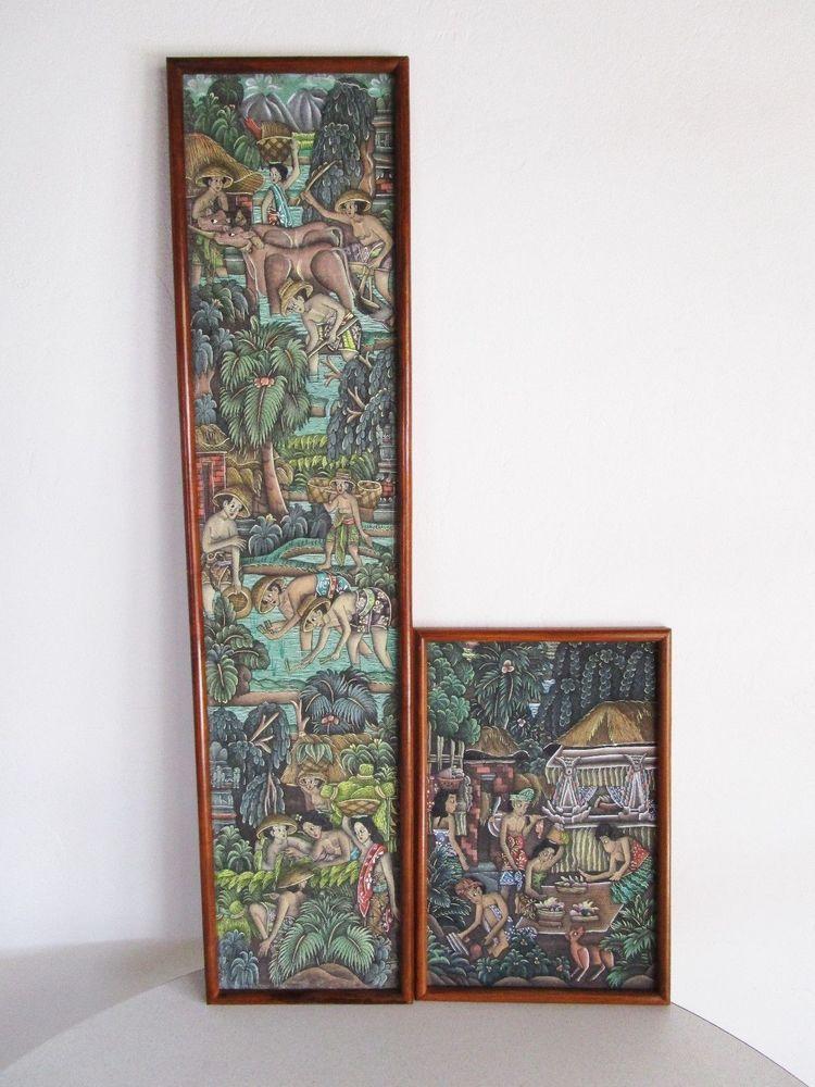 Batuan Bali Indonesian Folk Art 2 Panels Village Scene Fabric Frame ...
