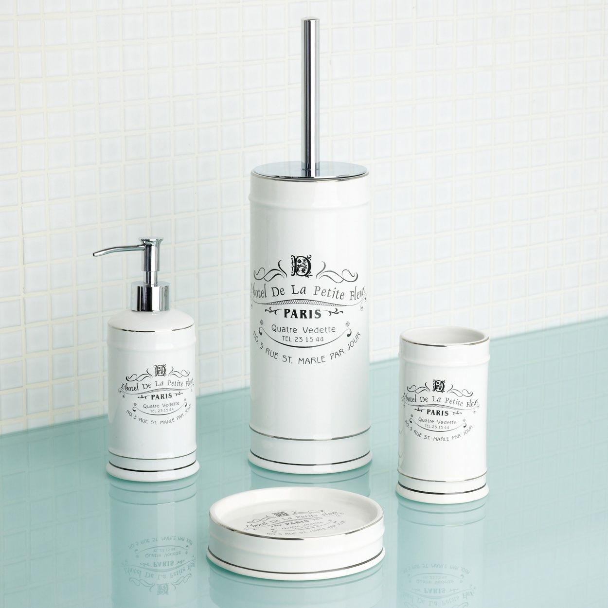 Superbe Home Collection White Paris Bathroom Accessories