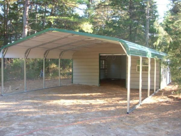 Regular style end storage carport combo carports for Carport shop combo