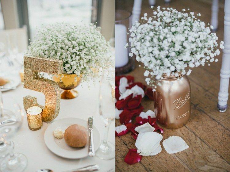 Stilvolle tischdeko mit goldelementen und maigl ckchen for Pinterest hochzeitsdeko