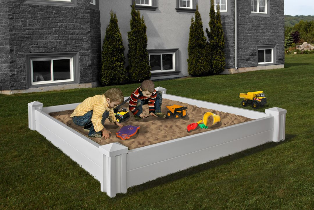 Outdoor Sand Box With Cover Versailles White Vinyl