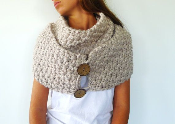 Oatmeal convertible scarf with buttons. Chunky textured knit scarf ...