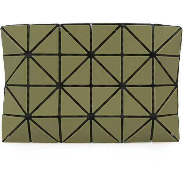 Bao Bao Issey Miyake triangles clutch bag (5,645 MXN) ❤ liked on Polyvore featuring bags, handbags, clutches, green, green clutches, pvc handbags, triangle purse, green handbags and pvc purse