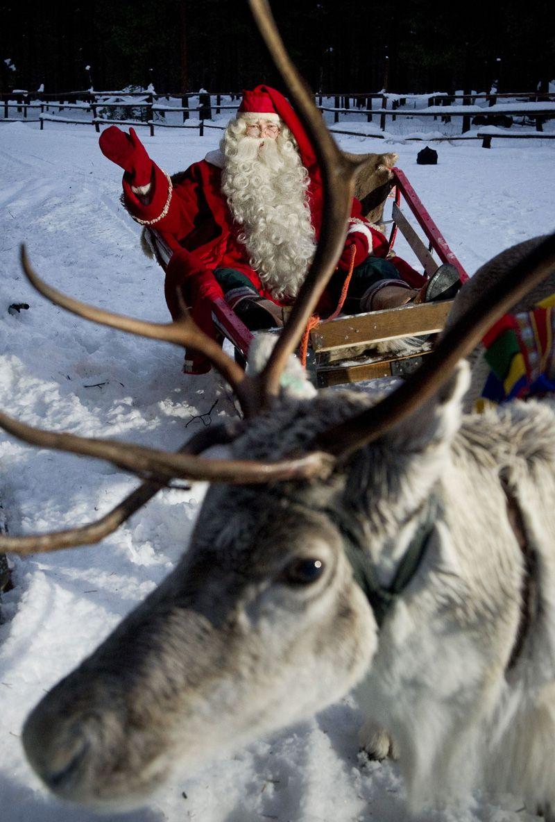 Santa Claus rides a reindeer, Rovaniemi, Lapland, Finland