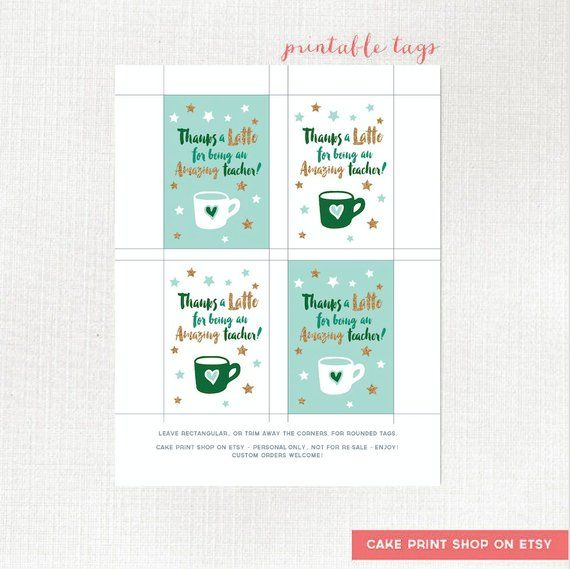 Thanks a latte thank you printable, printable teacher gift tag