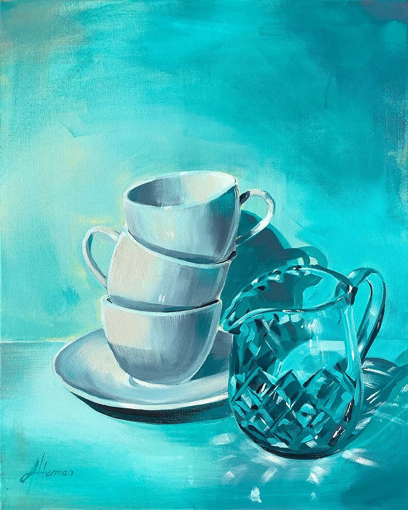 The third painting in my 'Aqua Glass Series'; Aqua Glass Tea Time; was a little more challenging with the criss-cross pattern of the crystal creating very interesting reflections and shadows on the surrounding surfaces.  #paintedflowersneverdie #beinspired #stillife #paintingglass #paintingflowers #Ilovetopaint #artist #art #artforyourwalls #forsaleonbluethumb #bluthumb #Iloveart #artlovers #homebeautiful #artforyourhome #paintingforyourwall #artforyourwall #loveyourhome