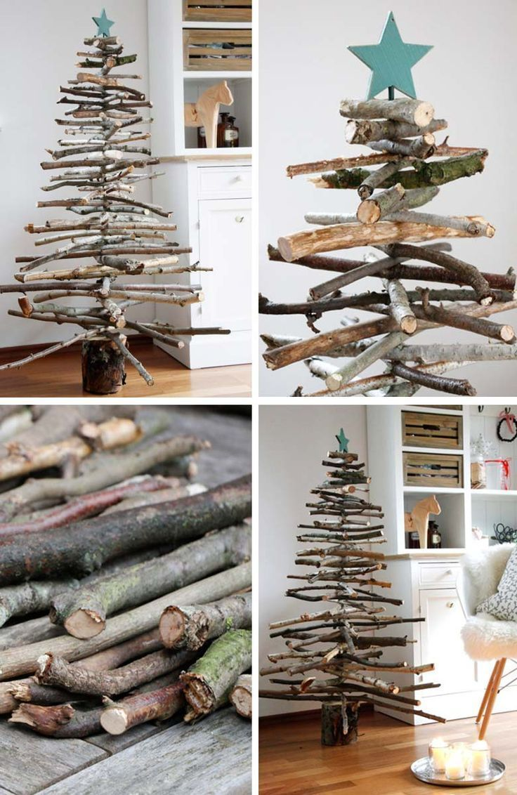 Photo of How to decorate a small living room for Christmas – DIY Wooden Branches Christmas Tree #smallspaces