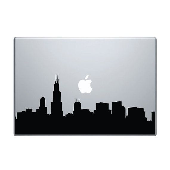 Chicago Skyline Vinyl Decal Sticker To Fit Macbook Pro - Custom vinyl decals for macbook pro
