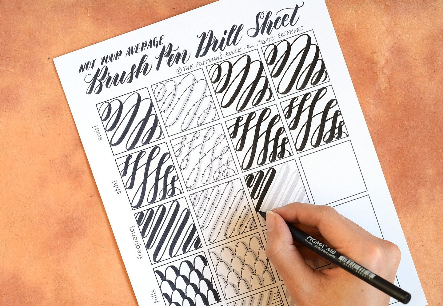 Not Your Average Brush Pen Drills Sheet