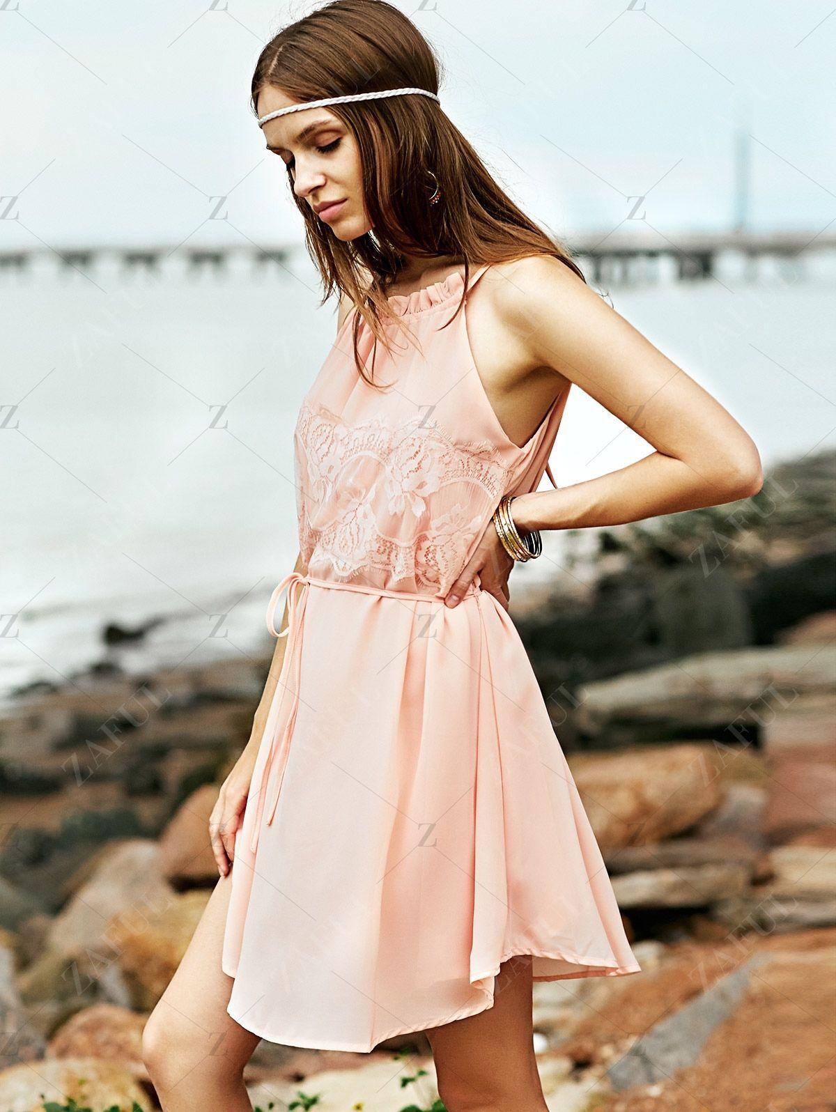 Lace Splice Round Collar Sleeveless Dress