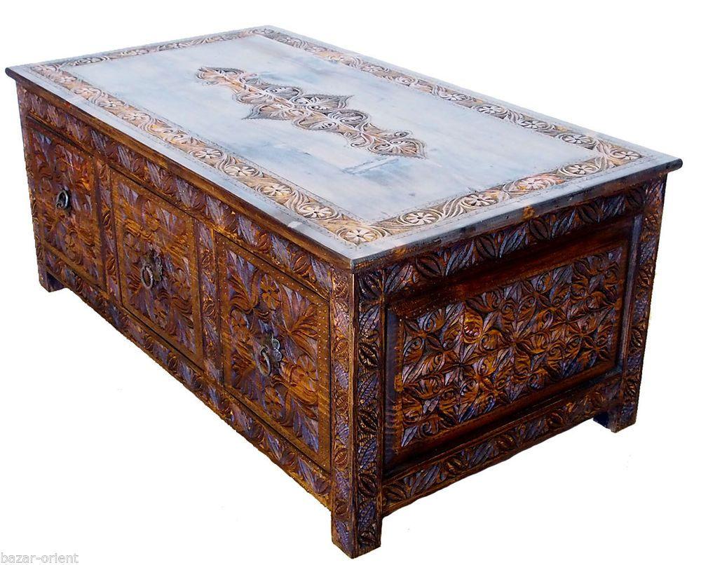 110x60 Cm Antik Look Handgeschnitzte Wohnzimmertisch Tisch Truhe Couchtisch  NUR3