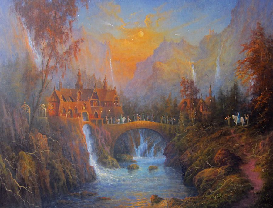 Lotr Fall Wallpaper Tolkien Painting Farewell To Rivendell The Passing Of
