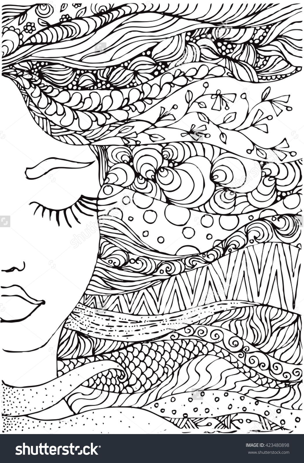 Ink doodle womanus face and flowing coloring page zendala mandala