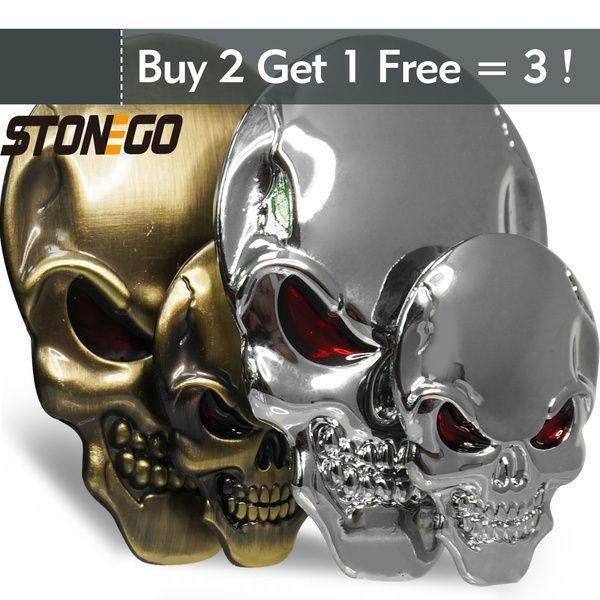 3D Car Skull Logo Metal Body Stickers Zinc Alloy Car Decoration Metal Adhesive Truck Car Badge Emblem Sticker Decal Skeleton Skull Bone Shape with C