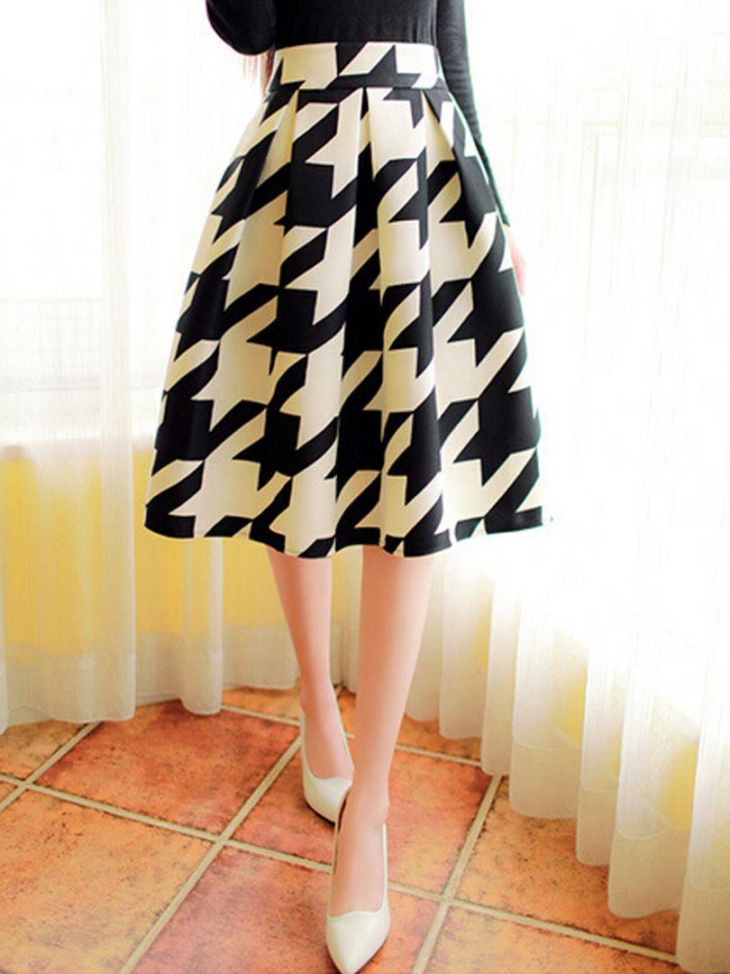 d5716d7a4 Color Block Houndstooth Print Midi Skater Skirt Women's Fashion Dresses, Waist  Skirt, High Waisted