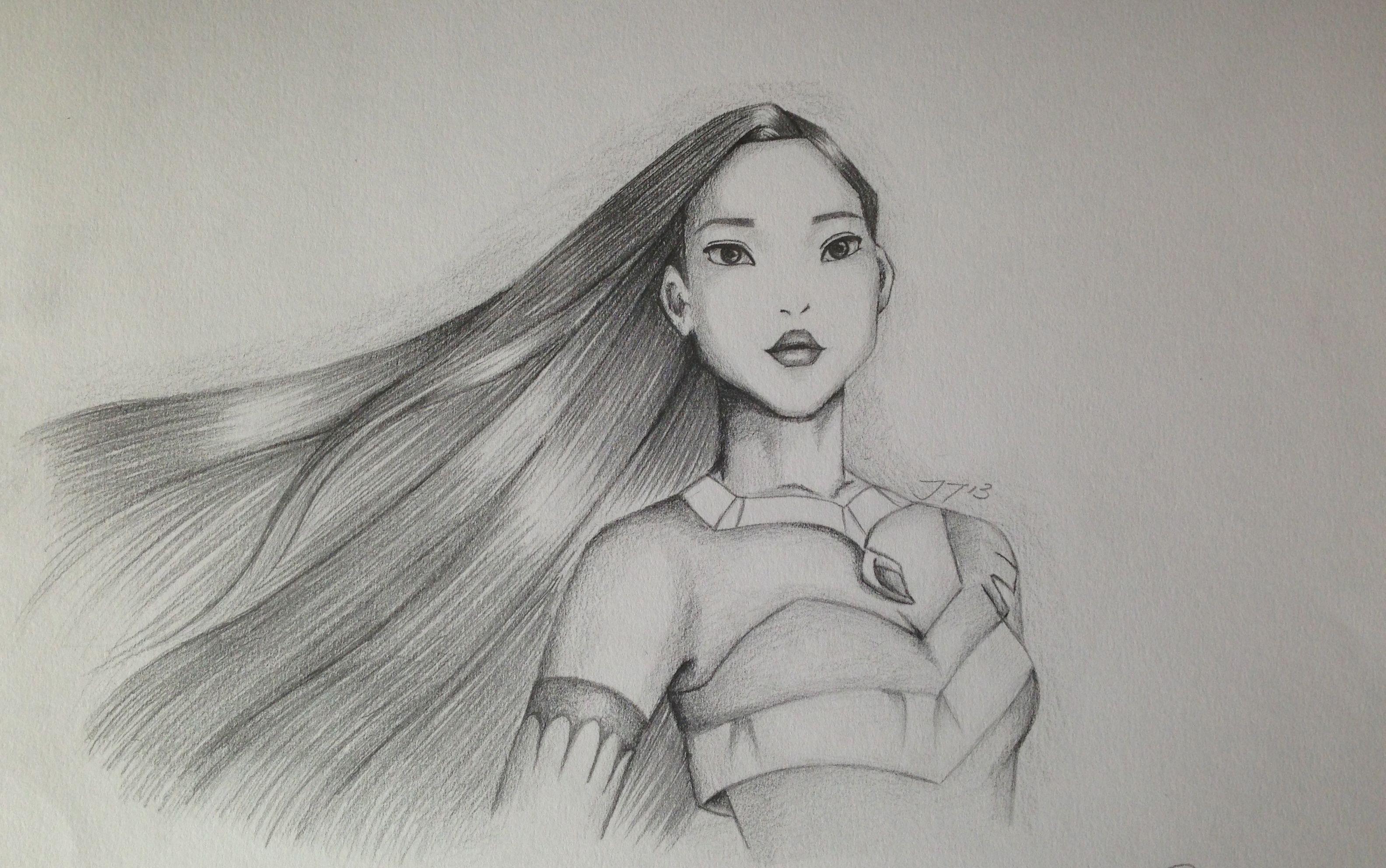 Pencil drawing of Pocahontas | Pocahontas drawing, Pencil ...