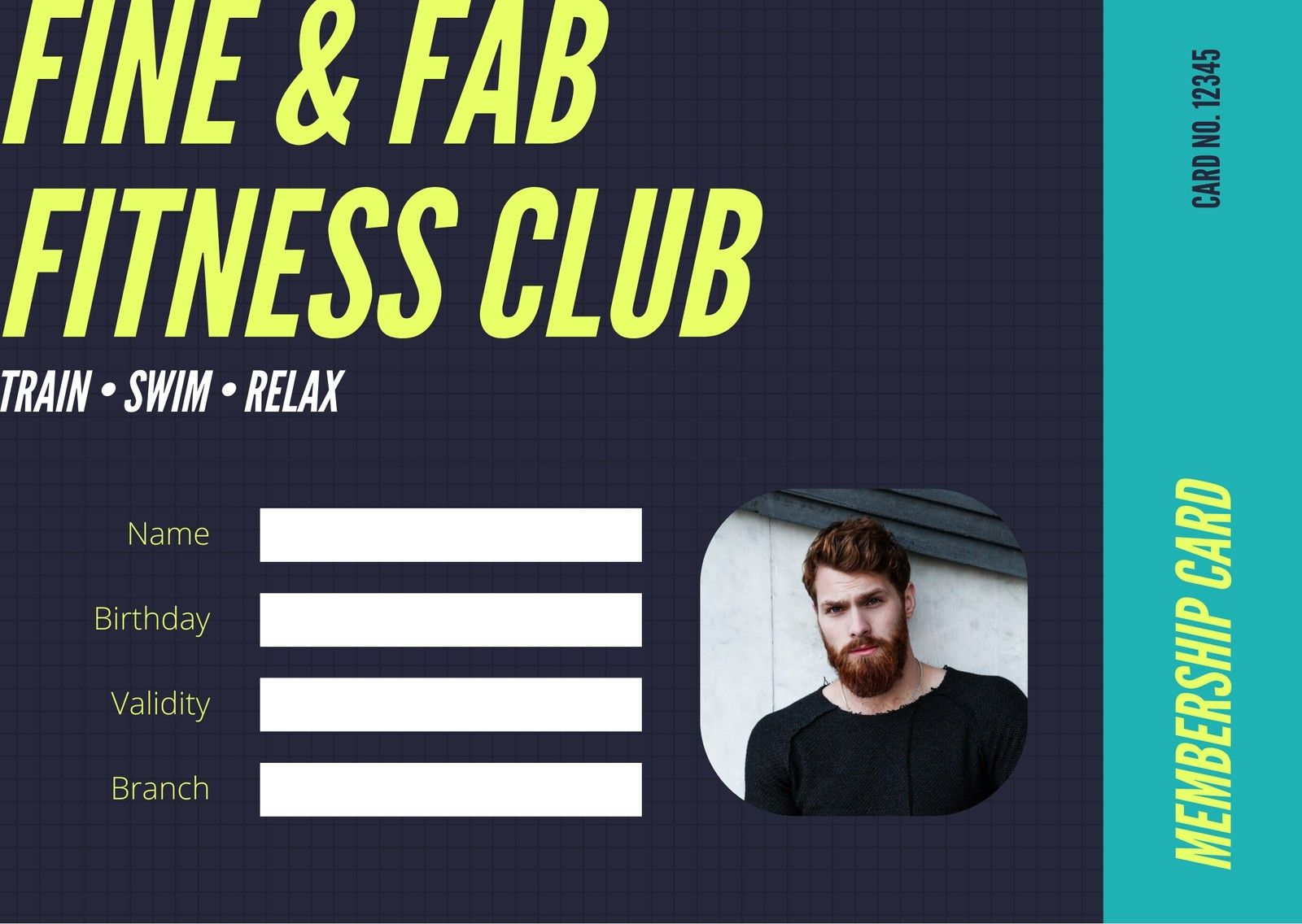 Black Teal Neon Yellow Gym Membership Fitness Id Card Within Gym Membership Card Template Best Business Gym Membership Card Membership Card Business Template