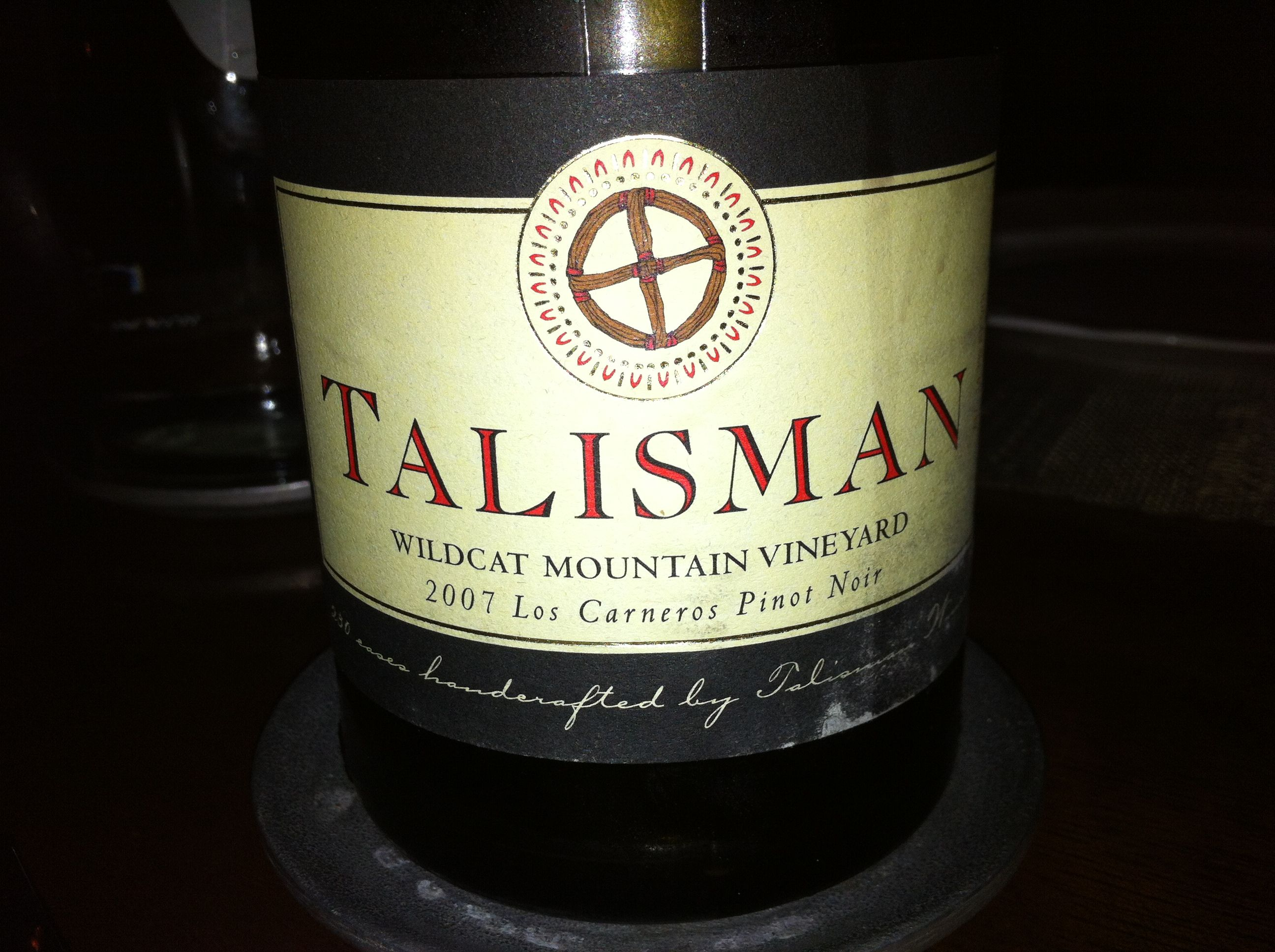 I'd never tried this Talisman Wildcat Mountain, Pinot, Carneros 07