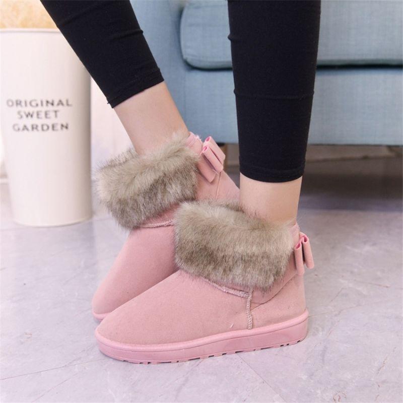 genuine leather fox fur Winter Boots