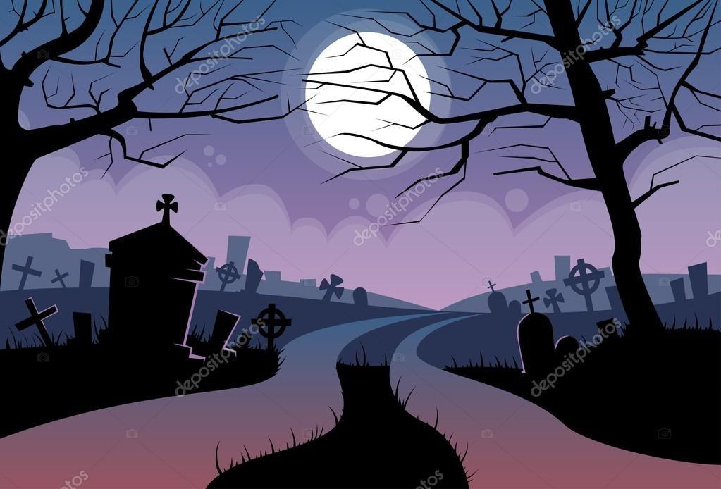 River Halloween Moon Cemetery Banner Graveyard Card Flat Vector Illustration Art Reference Photos Halloween Art Stock Illustration