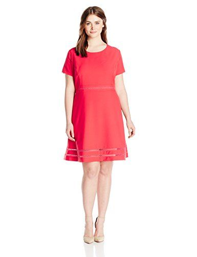 5a9e7c9555d Lark   Ro modern stretch fit and flare dress. Comfortable and fashionable  Product Features Short-sleeve dress in fit-and-flare silhouette featuring  princess ...