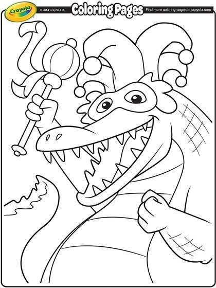 This alligator is almost ready for Mardi Gras! Color him in to let ...