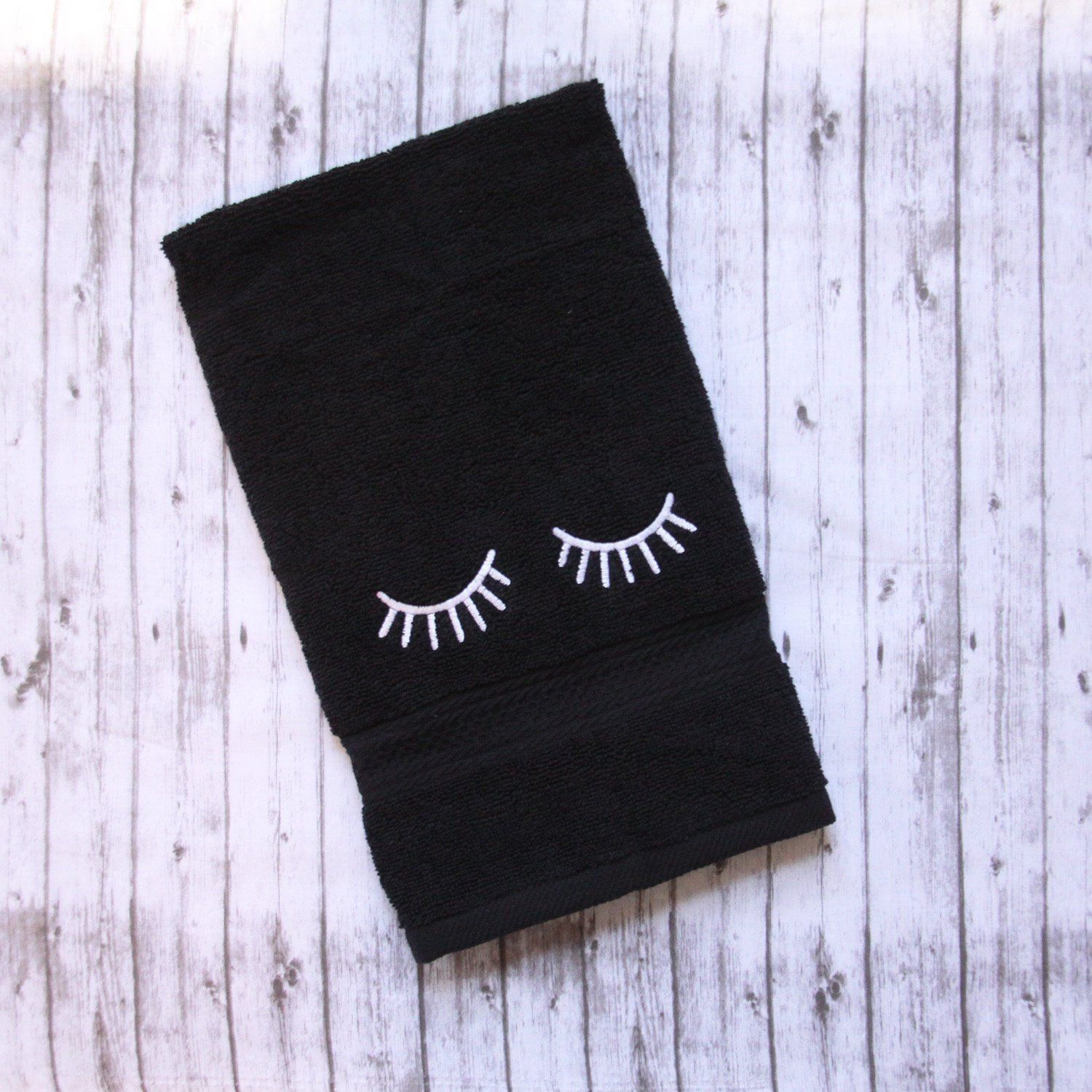 Embroidered eyelash makeup towel, black makeup towel