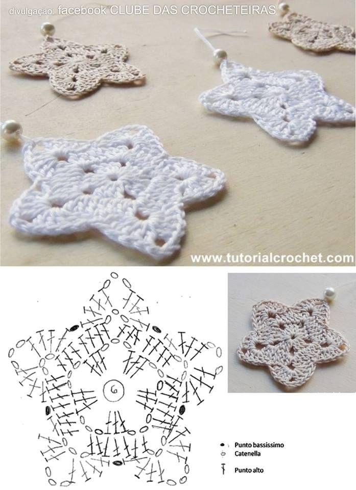stars pattern | Haken / Kerst | Pinterest | Ganchillo, Navidad y Nieve