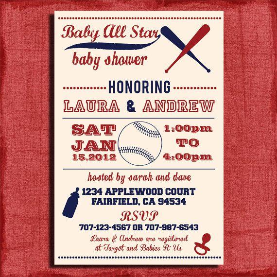 Printable Baby Shower Baseball Themed 4x6 or 5x7 Invitation-DIY ...