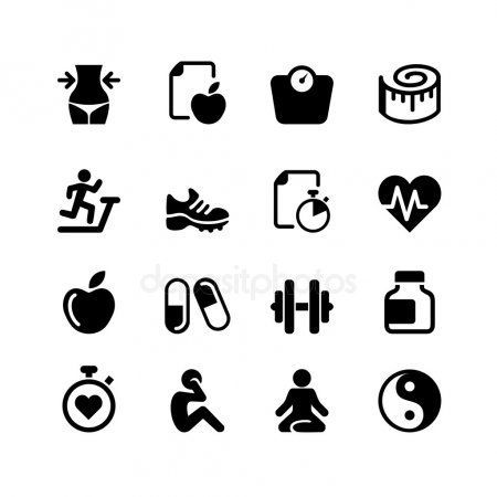 Set - 16 Health and Fitness icons - Stock Vector , #Affiliate, #Health, #Set, #F... -  Set – 16 Heal...