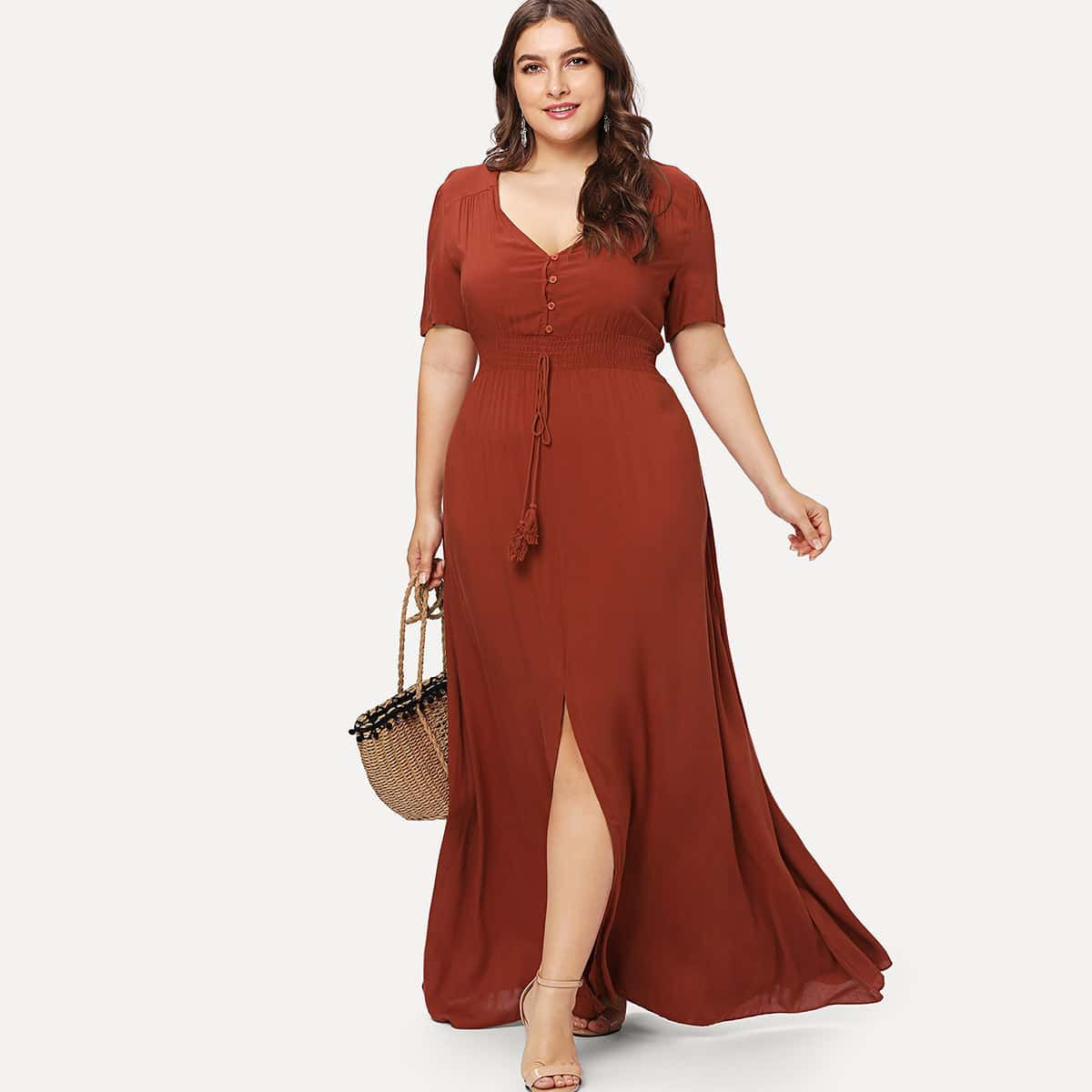 21 00 Vestido Bajo Con Abertura De Cintura Fruncido Shein Tallas Grandes Mujer Vestidos Plus Size Dresses Plus Size Maxi Dresses Flare Dress