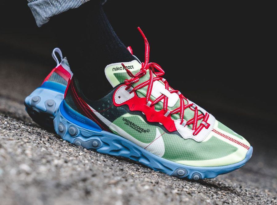 Undercover x Nike React Element 87  Volt University Red   nike  baskets   sneakers b03bcf37d19