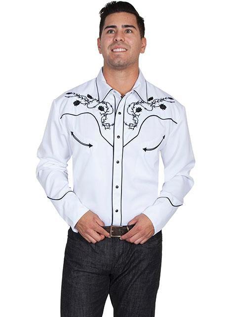 a337fc9a85a0 Scullyová Pánske Vintage Western košele  od A vyšívané Longhorn Skull and  Roses Black   White M-2X