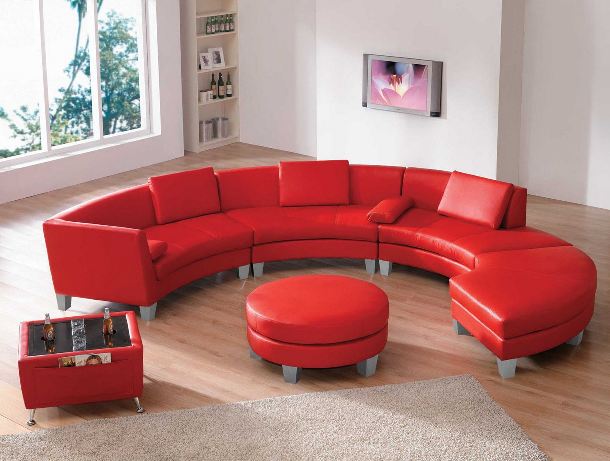 Furniture Living Room Curved Red Top Grain Leather Sectional Sofa With  Chaise And Round Ottoman Red Leather Couches
