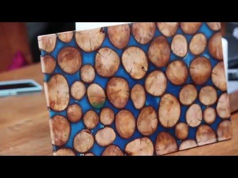 Teak Wood Light With Blue Resin Inlay   YouTube