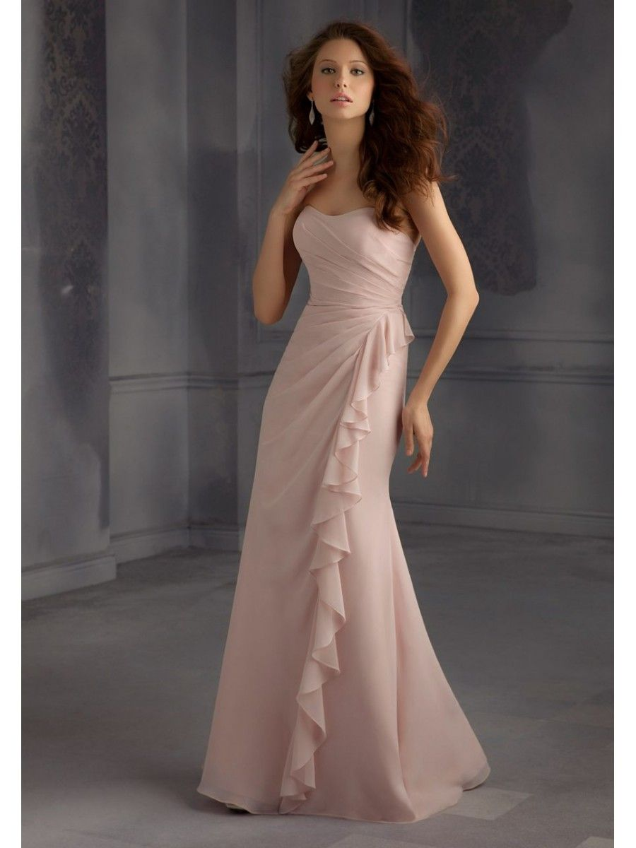Affordable Long Draped and Ruffled Chiffon Bridesmaid Dresses 5602108