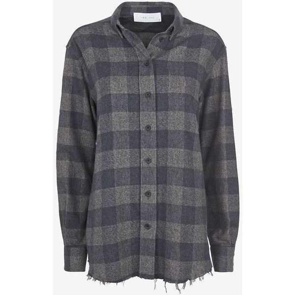 0c1eafa6 IRO Grey Plaid Flannel Shirt ($288) ❤ liked on Polyvore featuring tops,  shirts, flannels, grey long sleeve shirt, plaid top, long sleeve collared  shirt, ...